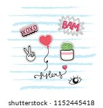 cute t shirt design with patches | Shutterstock .eps vector #1152445418