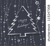 christmas card with fir on... | Shutterstock .eps vector #115247308