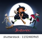 happy halloween greeting card... | Shutterstock .eps vector #1152483965