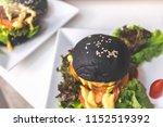 fresh tasty vegetarian burger... | Shutterstock . vector #1152519392