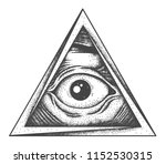 all seeing eye tattoo. old... | Shutterstock .eps vector #1152530315