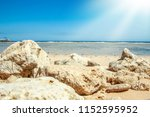 beautiful seashore vacation on... | Shutterstock . vector #1152595952
