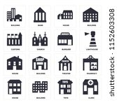 set of 16 icons such as clinic  ...