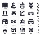 set of 16 icons such as shop ...