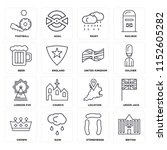 set of 16 icons such as british ...