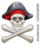 cartoon pirate jolly roger...   Shutterstock . vector #1152618038