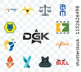 Set Of 13 transparent editable icons such as dgk, bull, body armor, deceit, siddhivinayak, cricket, volleyball, bollywood, cub scout, web ui icon pack