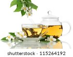 green tea with jasmine in cup