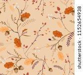 autumn floral seamless pattern... | Shutterstock .eps vector #1152654938