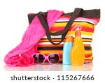 beach bag with accessories... | Shutterstock . vector #115267666