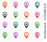 map pin icon set flat design... | Shutterstock .eps vector #1152682115