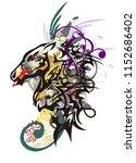 monster horse head. splattered... | Shutterstock .eps vector #1152686402