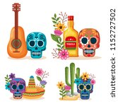 day of the dead masks with... | Shutterstock .eps vector #1152727502