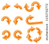 orange arrows. 3d shiny icons... | Shutterstock . vector #1152733772