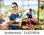 pretty female nursery worker... | Shutterstock . vector #115275016
