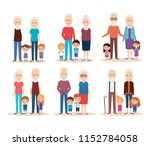 cute grandparents couple with... | Shutterstock .eps vector #1152784058