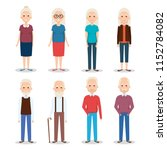 cute grandparents group... | Shutterstock .eps vector #1152784082