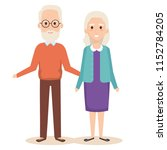 cute grandparents couple... | Shutterstock .eps vector #1152784205