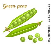 green peas isolated on white... | Shutterstock .eps vector #1152786218
