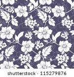 blue and white seamless floral...
