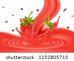 realistic strawberries with... | Shutterstock .eps vector #1152805715