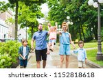 happy familly of five in the... | Shutterstock . vector #1152818618