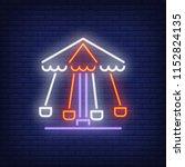 rotating carousel neon sign....   Shutterstock .eps vector #1152824135