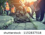 labors are constructing... | Shutterstock . vector #1152837518
