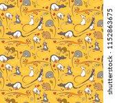 seamless pattern with fancy rat.... | Shutterstock .eps vector #1152863675