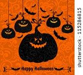 halloween pumpkin background.... | Shutterstock .eps vector #115286815