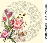 illustration flowers and napkin ... | Shutterstock . vector #1152900308