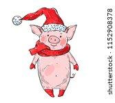 cute piggy dressed as santa... | Shutterstock .eps vector #1152908378