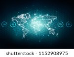 2d illustration world map... | Shutterstock . vector #1152908975
