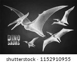 graphic flying pterodactyls.... | Shutterstock .eps vector #1152910955