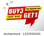 buy 3 get 1 free sale banner    Shutterstock .eps vector #1152920432