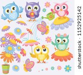 Colorful Spring Owls