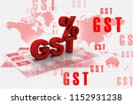 3d rendering gst tax india with ... | Shutterstock . vector #1152931238
