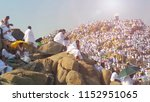Small photo of MECCA, SAUDI ARABIA, september 2016., Muslims at Mount Arafat (or Jabal Rahmah) in Saudi Arabia. This is the place where Adam and Eve met after being overthrown from heaven.