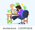 excited guy catches money from...   Shutterstock .eps vector #1152951818