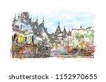 the shwedagon pagoda ... | Shutterstock .eps vector #1152970655