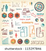 doodles info graphics set | Shutterstock .eps vector #115297846
