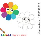 rainbow flower to be colored ... | Shutterstock .eps vector #1152992612