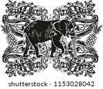 elephant with flower graphic... | Shutterstock .eps vector #1153028042