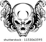 angry skull in floral ornament... | Shutterstock .eps vector #1153063595