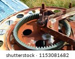 rusted mechanism on the boat... | Shutterstock . vector #1153081682