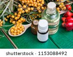 sea buckthorn oil and berries... | Shutterstock . vector #1153088492