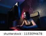 concerned girl gamer in... | Shutterstock . vector #1153094678