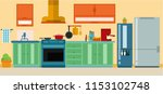 set of furniture in kitchen... | Shutterstock .eps vector #1153102748