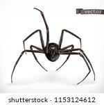 realistic spider  halloween 3d... | Shutterstock .eps vector #1153124612
