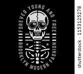 retro skeleton. vintage print... | Shutterstock .eps vector #1153125278